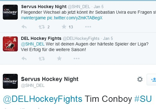 Uvira über Conboy im Twitter-Kanal von Servus Hockey Night (Screenshot).