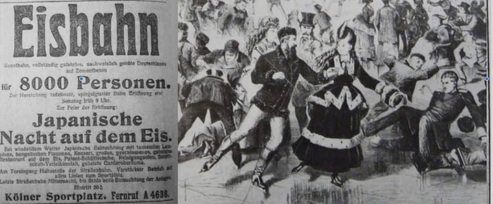 Links: Anzeige für die Japanische Nacht (31. Dezember 1913) / rechts: Zeichnung von 1872