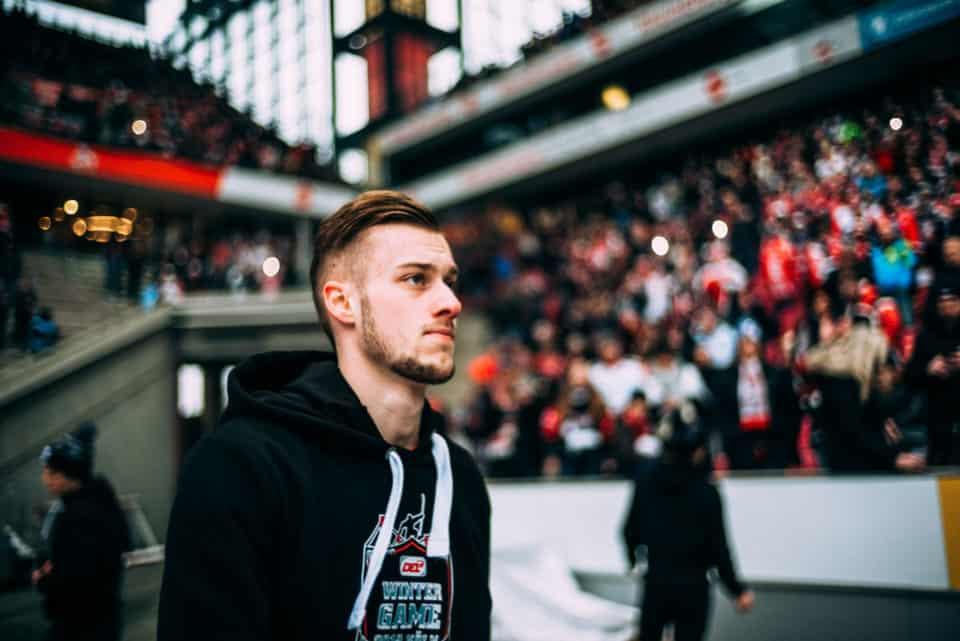 Lucas Dumont vor dem DEL WINTERGAME 2019. Foto: Basti Sevastos.